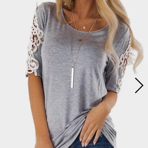 Tops - Grey shirt with lace sleeves